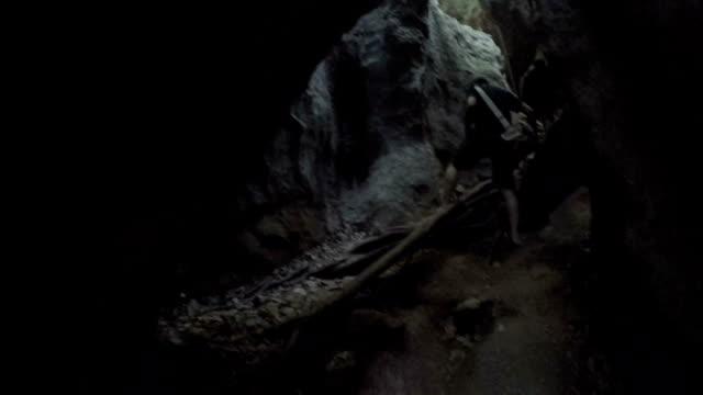 Walk inside cave