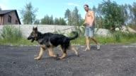 Lopen met een pup van een Duitse herder.