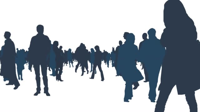 walking around large crowd of people in white isolated background
