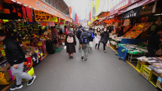 Walking camera captures wide variety shops along the both side of Ameyoko Shopping Street, which are Seafood, Vegetable, Meet, Clothe and more.