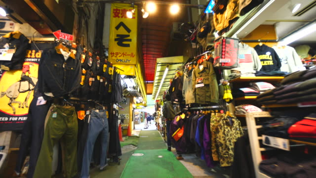 Walking camera captures wide variety shops along the both side of Ameyoko Welcome MALL, which are Clothing, personal ornaments, shoes, cosmetics, bag, healthy goods, and more at in Ueno, Taito-ku Tokyo. 'NO AUDIO'