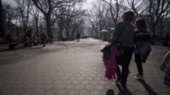 Walking down Central Park path under leafless trees in New York City
