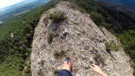 Walking from pov on the edge mountain with cliffs.