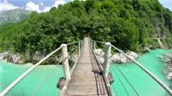 Walking over a hanging bridge