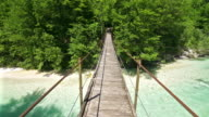 Walking over a hanging bridge