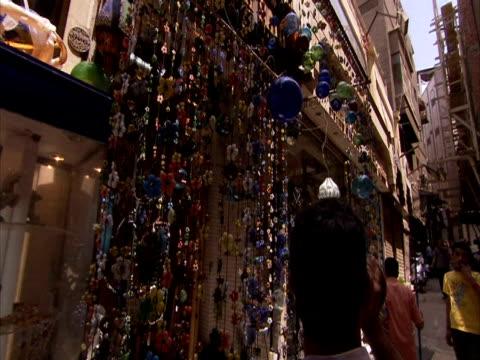 POV walking through arab street market, Khan Al-Khalili Bazaar, Egypt (sound available)