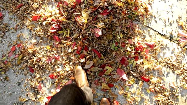 SLOW MOT - Walking through leaves
