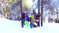 Walking trough the forest and snow