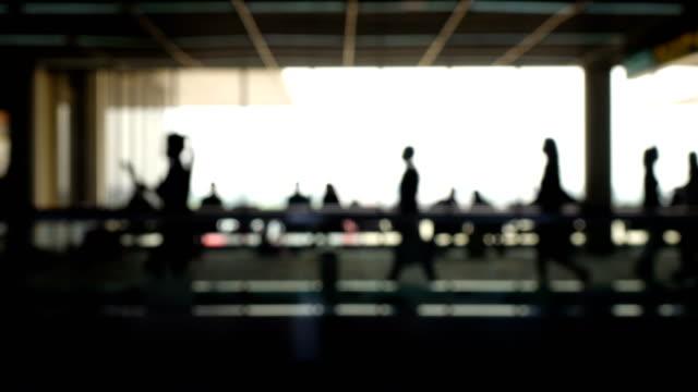 Walkway Airport Blurry Silhouette.
