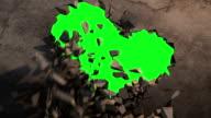 Wall explode green screen