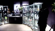 Wallis Simpson jewellery displayed ahead of auction at Sotheby's ENGLAND London Sotheby's INT Display cabinets housing Wallis Simpson jewellery...
