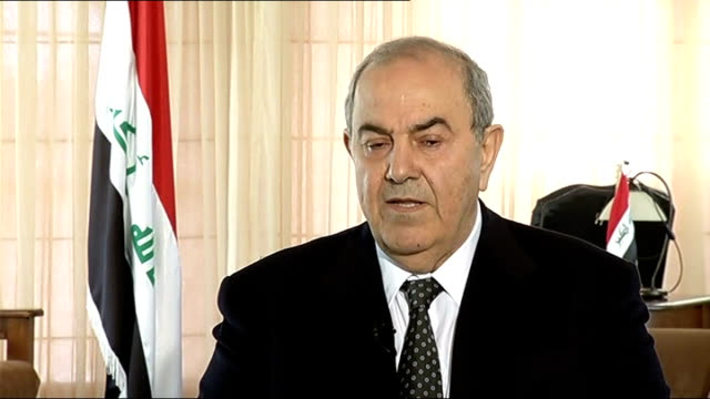 War officially ended as United States flag lowered in special ceremony IRAQ Baghdad INT Ayad Allawi sitting at desk Ayad Allawi interview SOT Leaving...