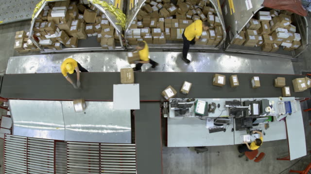 TIME-LAPSE Warehouse workers distributing packages onto different lines on conveyor belt