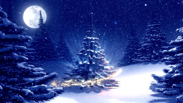 Warm blue winter landscape with decorated Christmas tree.