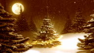 Warm golden winter landscape with decorated Christmas tree.