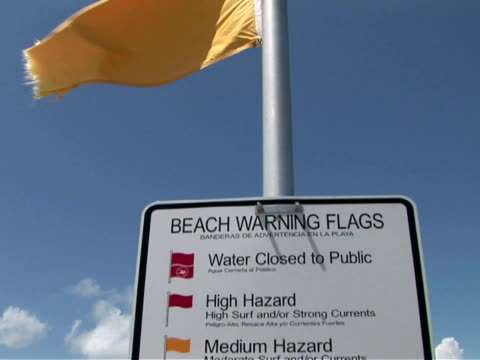 CU, PAN, Warning flag and sign on beach