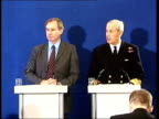 Warning from military chief/talks held ITN London INT Geoff Hoon MP and Admiral Sir Michael Boyce towards to press conference Press seated Admiral...