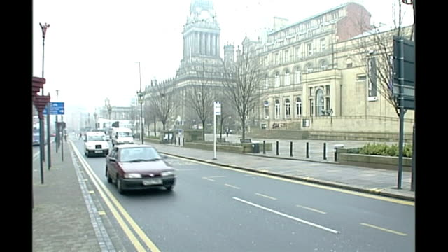 MI5 warning of terrorism campaign in UK / Retrial of Adel Yahya Leeds EXT Exterior of Leeds Town Hall and traffic passing Local bus towards and past...