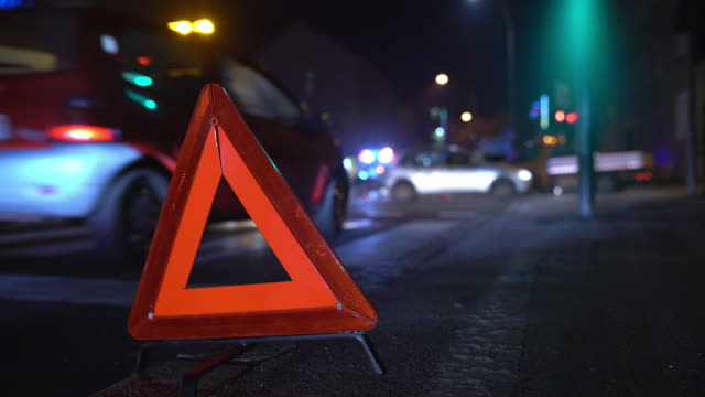 MS Warning triangle at the accident scene