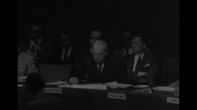 SOT Warren Austin US Ambassador to UN speaking about report of Soviet Union bomber firing at UN fighter planes off coast of Korea and their shooting...