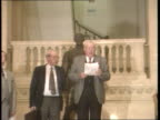 Warrington memorial services Major in Ulster LIB CMS Rev Ian Paisley standing reading statement PULL OUT on top of stair OUT ditto MS Two Unionists...