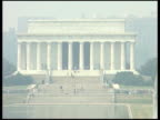 Buildings and Monuments I Lincoln Memorial with fountains and water feature in foreground / Capitol Building ZOOM IN to top of dome and PULL OUT