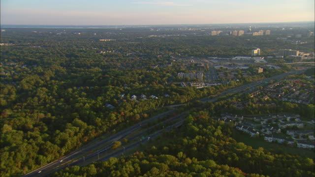 AERIAL Washington D.C. suburbs and group of condos, Springfield, Virginia, USA