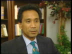 Washington INT Charles Pena interview SOT Talks of Bush warning to Iraq let in the UN weapons inspectors or else EXT Bush down from helicopter and...