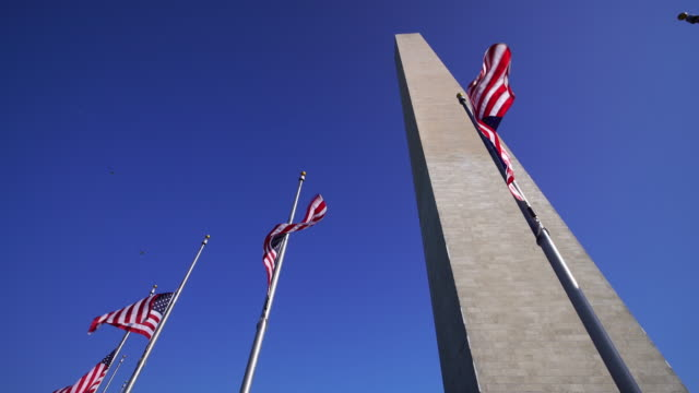 Washington Monument and american flags in DC USA