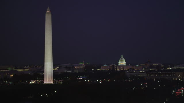 Washington Monument and Capitol dome at night. Shot in 2011.