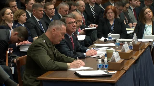 Washington State Congressman Rick Larson asks Defense Secretary Ashton Carter about a remark a day earlier by intelligence official that ISIL his...
