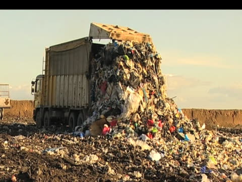 Waste is dumped at landfill site UK 12 October 2009