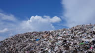 Waste Mountain With Cumulus Clouds - Time Lapse 4k