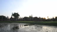 Wat Mahathat in Sukhothai Historical Park in Sunset time