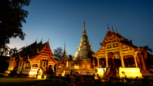 Wat Phra Sing temple , Chiang Mai, Thailand time lapse.