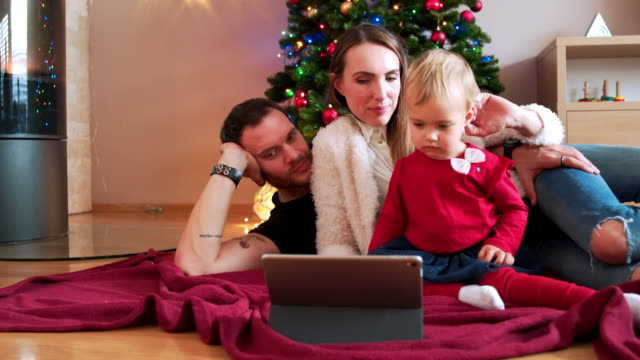 Watching cartoons on Christmas eve