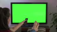 Watching TV, changing channel and coffee, feet up. Chromakey screen.