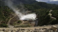 MS ZI Water being releasing from valvers of reservoir with resulting 20 meter high fountain / Ardales, Andalusia, Spain