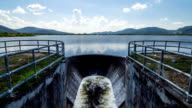 Water flowing out of the dam. Time Lapse
