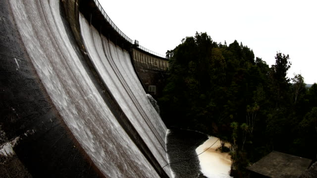 Water flows down Watercare's Waitakere Dam in the Waitakere Ranges on August 17 2017 in Auckland New Zealand There are five dams in the Waitakere...