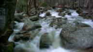 Water flows through a rocky stream.