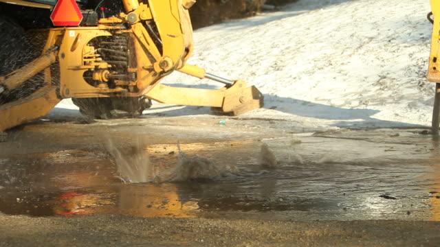 Wasserrohrbruchs auf der Stadt-Straße, Flow abschalten