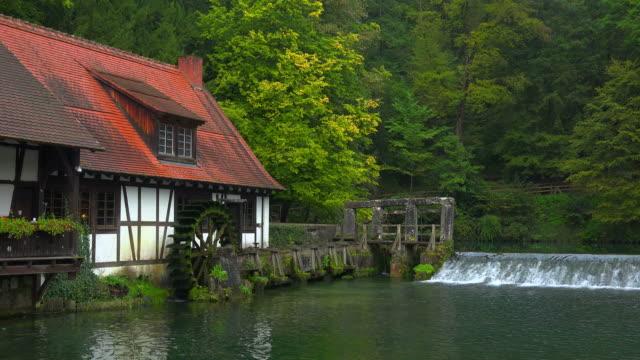 Water Mill at Blautopf Spring, Blaubeuren, Swabian Alb, Baden-Wuerttemberg, Germany