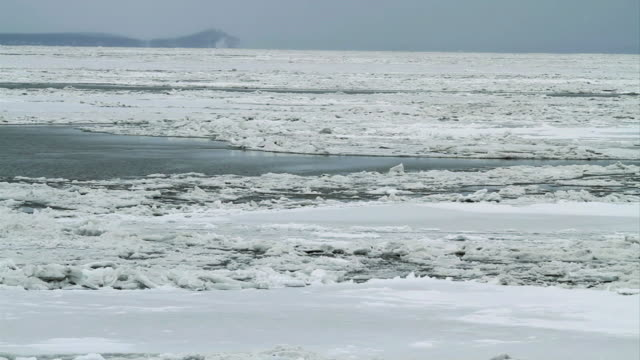 MS Water moving across ice on frozen Arctic ocean / Point Hope, Alaska, United States