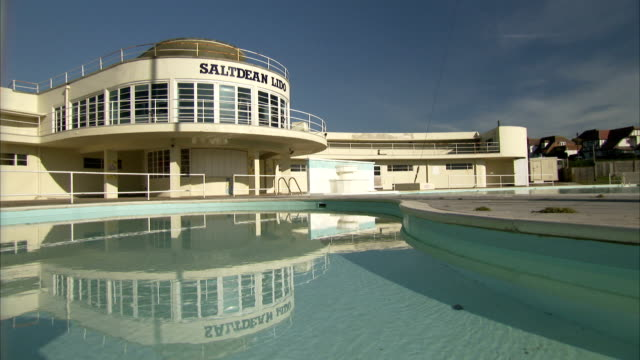 Water ripples in a pool outside of the Saltdean Lido in Brighton. Available in HD.