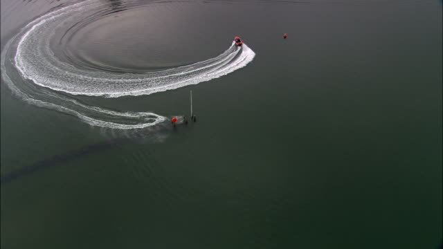 Water Skiing On River Teign  - Aerial View - England, Devon, Teignbridge District, United Kingdom