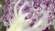 Water Splashes Red cabbage : HD Slow motion