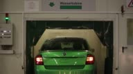 Water spray covers a Skoda Auto AS Rapid automobile during a rain test at the Volkswagen Group Rus OOO plant in Kaluga Russia on Tuesday Sept 19 2017