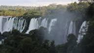LS Water spray rises from Iguazu Falls / Cataratas del Iguazu / Puerto Iguazu, Argentina
