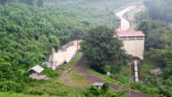 Water Stream from the Dam go to the Canal from Top View